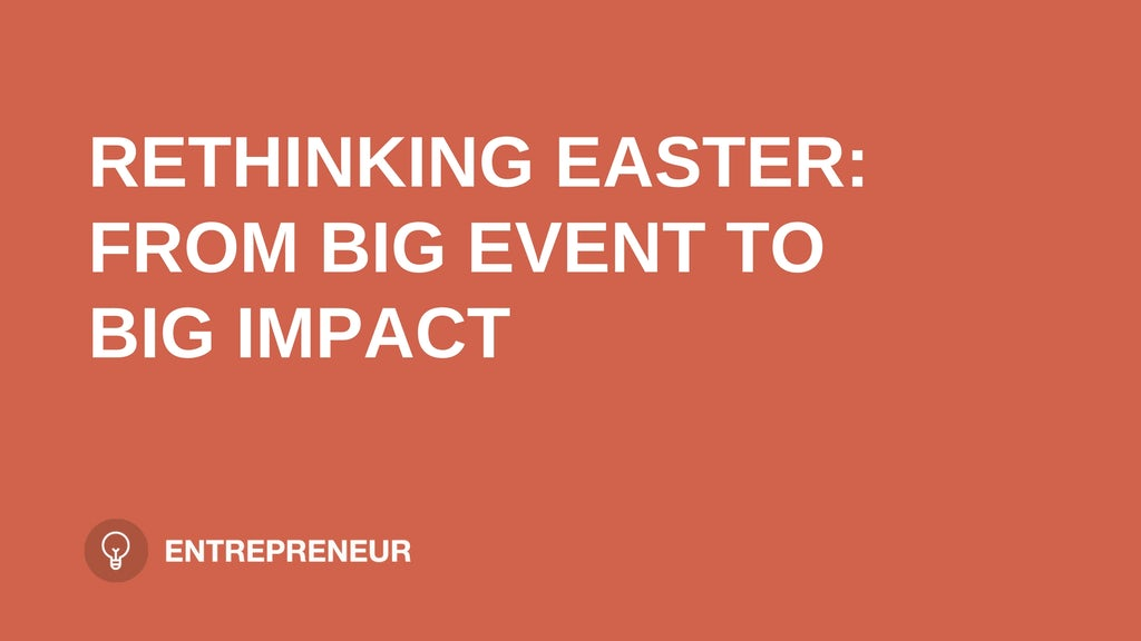 "text ""RETHINKING EASTER: FROM BIG EVENT TO BIG IMPACT"" on orange background leaders.church"