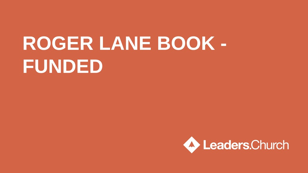 "Text ""Roger Lane Book - Funded"" on orange background"